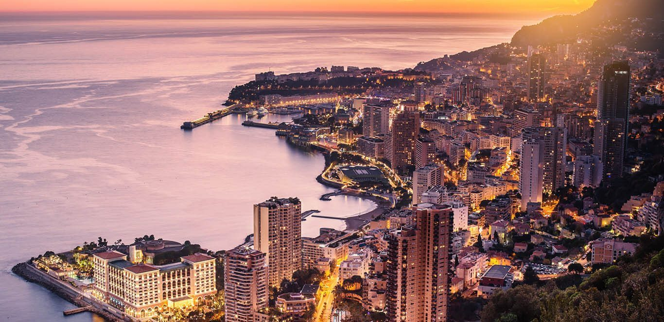 Evening view of Montecarlo, Monaco, Cote d'Azur, Europe